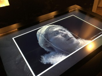 Figure 7: Digital facial reconstruction of the Tollund man, Silkeborg Museum  (Photograph: M. Schlanker 2018)