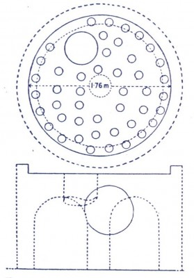Fig.2: Top and section drawing of a typical kiln in Sousa (Forbes R. J. 1966).