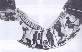 Fig. 6: Attic black-figured hydria depicting the stages of making a vase (Beazley 1946).