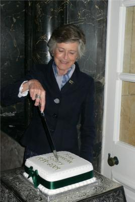 Figure 2: Lady Crathorne cutting the 70th anniversary celebration cake. Reproduced by kind permission of James Crathorne