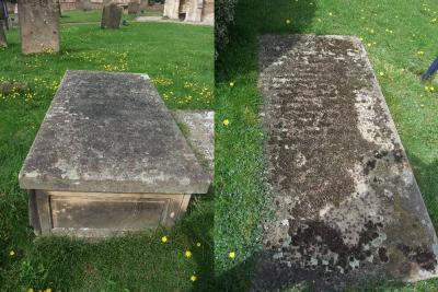 Figure 3 - Chest tomb (left) and ledger slab (right) (Image Copyright - Mark Simpson)