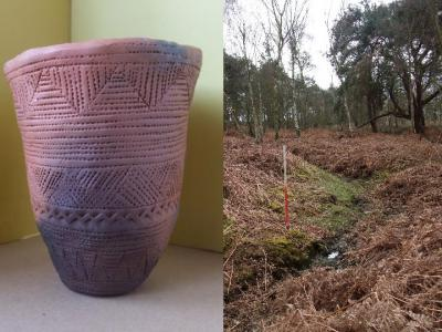 Figure 2 - Replica Bronze Age Beaker (left) and Bronze Age burial mound being surveyed (right) (Image Copyright - Mark Simpson)