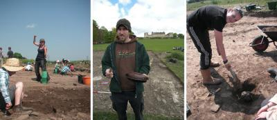 Figure 4 - Beware of. . .Left: Students with Water Sprayers. Centre: Supervisors with Cake. Right: Mattocking Through Archaeology. (Image Copyright - Khadija McBain (Left & Right); Jonathan Finch (Centre))