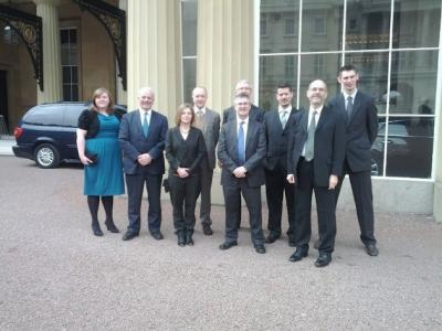 Figure 2 - From left, Chloe Lewis (Year 3 student), Brian Cantor (Vice-Chancellor), Doctor Kate Giles, Doctor John Schofield, Sir Christopher O'Donnell (Chair of University Council), Professor Julian Richards, James Stuart Taylor (PhD student), Professor Matthew Collins and Ben Elliott (PhD student) at the palace. (Image Copyright - Matthew Collins)