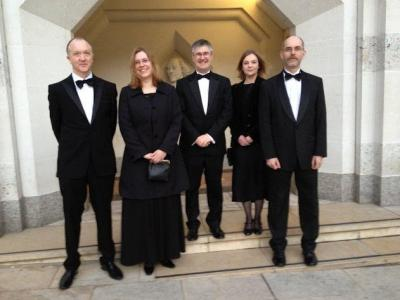 Figure 1 - From left, Doctor John Schofield, Catherine Hardman (ADS), Professor Julian Richards, Doctor Kate Giles and Professor Matthew Collins, ready to attend the prize-winners banquet. (Image Copyright - Matthew Collins)