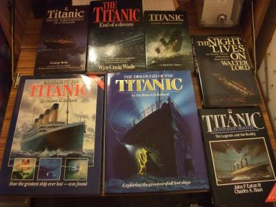Figure 1 - Just some of the author's collection of Titanic books. (Image Copyright - Mark Simpson)