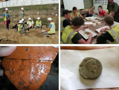 Figure 5 - Top Left: Ben explaining something to the trainees (sat on the oor right) and placements. Top Right: Trainees undertaking environmental sampling. Bottom Left: 9th Roman Legion marked CBM. Bottom Right: Roman Coin. (Image Copyright - YAT Archaeology Live! 2011)