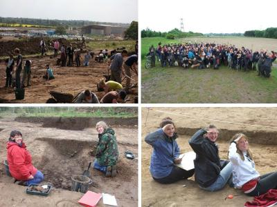 Figure 4 - Happy Students at Heslington East. (Image Copyright - Cath Neal/University of York Archaeology Department)