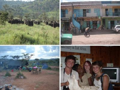 Figure 5 - Kenya Memories: Buffalo on Site! (Top Left). Visiting Nanyuki (Top Right). The Camp (Bottom Left). Sweetwaters Nature Reserve, and some of the 'gang' hold a Rhino skull. (Image Copyright - Khadija McBain: Top Left & Right/Jacqui Mellows: Bottom Left & Right)