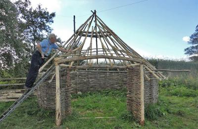 AND's reconstruction of an Iron Age round house in progress (Image Copyright: Brian Elsey)