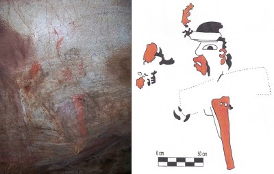 Figures 5-6 (L-R): Photograph and scale drawing of Juxtlahuaca Painting 1, Figure D (Image Copyright: Arnaud F. Lambert)
