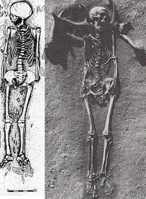 Left to Right Figure 2: Child burial from Coteau Montigne. After Duday et al 1990:41 and reproduced by kind permission of Bulletin et Memoires de la Societe d'Anthropologie de Paris  Grave 22 at Vedbæk Bøgebakken. After Nilsson Stutz 2003:237 and reproduced by kind permission of Erik Brinch Petersen)