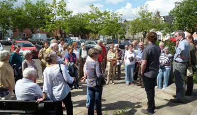 Figure 3: Chris Kolonko leading a walk about the archaeology of the Second World War to be found in Loddon, Norfolk (Reproduced with kind permission of Chris Kolonko)