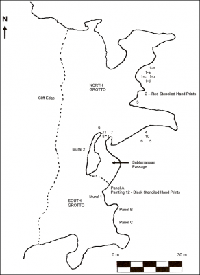 Figure 2: Map of Oxtotitlán cave, showing the location of the different grottoes and various rock paintings (Image Copyright: Arnaud F. Lambert)
