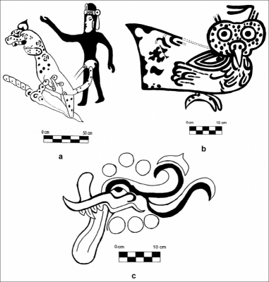 Figure 5: Scale drawings of the Oxtotitlán cave Painting 1-d (a), 1-e (b) and 3 (c) (Redrawn after Figure 15 in Grove 1970b, 19) (Image Copyright: Arnaud F. Lambert)