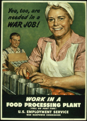 Figure 1: During the Second World War, a concerted effort on the part of the Federal Government and corporations to exploit American productivity inadvertently led to an assembly line consumer culture (Bensing 1945)