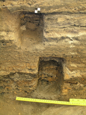 Figure 1: Finely stratified ash and organic layers in a midden at Çatalhöyük (Image Copyright: Lisa-Marie Shillito)