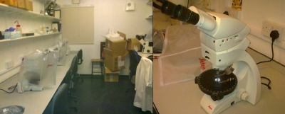 Figures 3-4 (L-R): Converting space in BioArCh into a microscope laboratory; one of the new Leica DM750P microscopes with integrated digital camera (Image Copyright: Lisa-Marie Shillito)