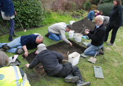 Figure 3: A community excavation on the lawn outside the YAS headquarters in Leeds held in association with the WEA Digability Project (Image Copyright: Yorkshire Archaeological Society)