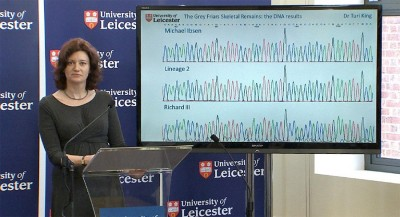 Turi King at the press conference (Reproduced with kind permission of the University of Leicester)