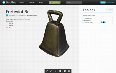 Figure 1: Interacting with the Forteviot Bell model using Sketchfab<br /> (Reproduced with kind permission of Alice Watterson, Glasgow School of Art, Digital Design Studio)