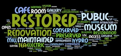 Figure 2: Word cloud of the public survey for the South Street Mill (after Davies et al. 2013)