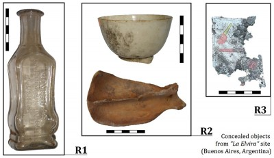 Figure 3. Odd findings: objects found inside concealed chambers within the wall (Image Copyright: Daniela N. Ávido).