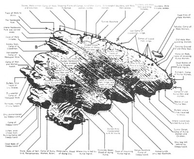 Figure 1. The totemic geography of Ayers rock (after Tilley 1994, fig. 2.4).