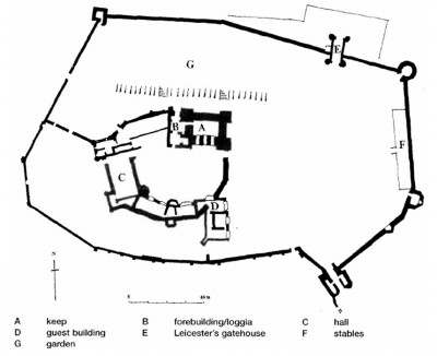 Figure 2. Plan of inner and outer courts of Kenilworth Castle (after Johnson 2000, fig. 14.4).