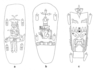 Figure 4: Representations of the axis mundi in the Olmec-style art of the Gulf Coast Lowlands: (a) jade celt from Río Pesquero (Museo de Xalapa, Veracruz, Mexico); (b) jade celtfrom Río Pesquero (redrawn after Joralemon 1976:41, Fig. 8e); and (c) design on a jade celt from Río Pesquero (redrawn after Joralemon 1976:41, Fig. 8d). Drawings are not to scale (image copyright: Arnaud F. Lambert).