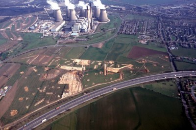 <b>Figure 1.</b> <i>An aerial photograph of excavations in advance of the A1 – M62 junction.</i> The image demonstrates the scale of some of the larger excavations Sanderson and the WYAAS deal with (Image Copyright: P. Gwilliam of ASWYAS).