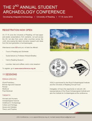 <b>Figure 6.</b> <i>Poster for registration and programme of ASA2</i> (Image Copyright: Annual Student Archaeology conference).