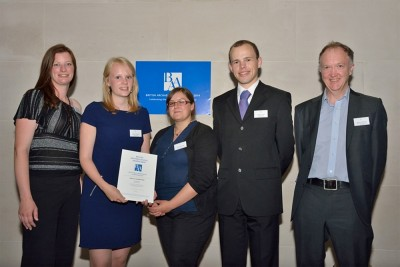 Figure 2. Representatives from The Post Hole and the Head of the Department of Archaeology at The University of York Dr John Schofield collecting their BAA 2014 certificate (L - R: Rianca Vogels, Emily Taylor, Katie Marsden and David Altoft) (Image Copyright: British Archaeological Awards 2014).