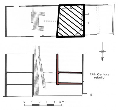 Figure 4: Plan and section of Tudor cottage, Brent Eleigh. The medieval house is shown in black and the smoke-bay inserted into the open bay in red (Johnson 2010, 91).