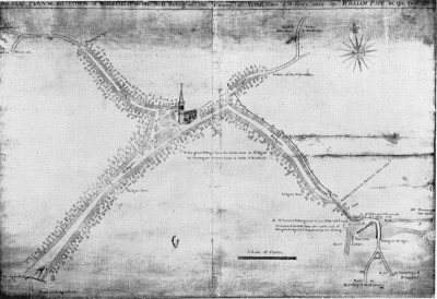 Figure 5. First known map of Wakefield dating from 1771 (Speak and Forrester 1971, 37).  Although Wakefield Bridge is labelled, the Chantry Chapel is not shown, which is a possible indicator of loss of status associated with its secular use.