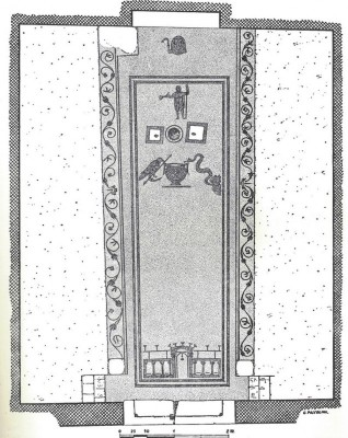 Figure 12. Mosaic of Seven Gates on the floor of the mithraeum at Sette Porte, Ostia. Vermaseren, M.J. 1956, 137. CIMRM 288.