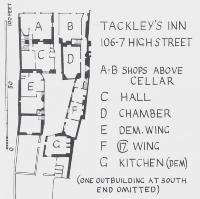 Figure 6. Buckler's plan prior to demolition of the post-medieval wings (Munby 1979, 130).