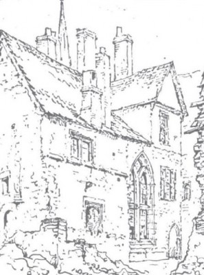 Figure 7. Buckler's sketch of the South West aspect following demolition of the post-medieval wings (Munby 1979, 135).
