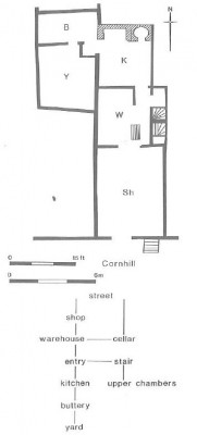 Figure 12 (left). The plan and access diagram for The Wildman, Cornhill, show the shop to be the most public space, while the upper chambers are the most private (Schofield 1994,197).
