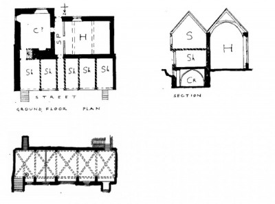 Figure 3. Pantin's interpretation of Tackley's inn showing the hall and chamber behind the cellar/shop/solar range facing the street (Pantin 1962-63, 219).