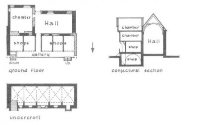 Figure 5. Faulkner's interpretation of Tackley's Inn shows the raised gallery to the shops, and the inclusion of two levels of chambers above, rather than the solar as proposed by Pantin (Faulkner 1967, 126).