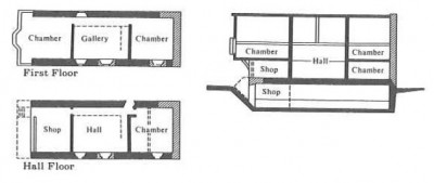 Figure 9 (below). 58 French Street, Southampton has a narrow, deep space, and uses jetties to create the extra space at first floor level, indicating there was pressure on commercial space in the town. The plot did however accommodate a side passage, giving independent access to the residential quarters (Platt 1976, 60-61).