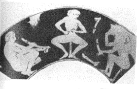 Figure 1. Underside of a drinking cup showing women with disemodied phalli (possibly olisboi). (Kilmer 1993 241; Keuls 1993 83, 443).