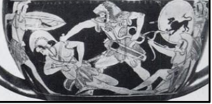 Figure 3. Attic red figure kantharos depicting Heracles stabbing an amazon in the breast as she falls-notice the awkwardness of the movement and the unnatural angle created (Von Bothmer 1957, Pl. LXX.4a).