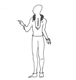 Figure 3. The skeletal remains were originally interpreted as a 'transvestite priest' because it was previously and androcentrically believed to be inconceivable that a woman could be honoured with prestige items which were usually associated to males, despite the fact that the skeleton was sexed as a female (Spindler and Spindler 1983, 230).