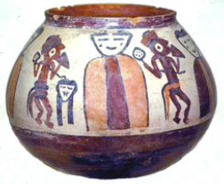 Figure 1. Depicts a Nasca bundle being honoured with a trophy head (Proulx 2001).