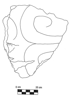 Figure 3. Scale drawing of the sculpture fragment from Chalcatzingo (Image Copyright: Arnaud F. Lambert)