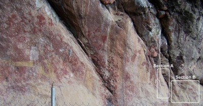 Figure 5. The new sections of rock paintings in relation to other parts of the painted panel. (Image Copyright: Arnaud F. Lambert).