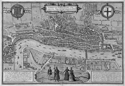 Figure 4: London (c. 1550) first published 1572.  Open land with grazed livestock began within a few hundred yards of the wall.  Suburban sprawl in Westminster is evident (Keene, 2000, 77)