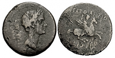 Figure 1: Julius Caesar and Bellerophon (RPC I, 1116). Bronze as, from Corinth, 44-43 BCE. Obverse: laureate head of Julius Caesar, with the legend LAVS·IVLI·CORINT (Laus Iulia Corinthiensis). Reverse: Bellerophon mounted on Pegasus and striking downward with a spear, with the legend L·CERTO·AEFICIO C·IVLI(O)·IIVIR (L. Aeficius Certus and C. Iulius duovir). Reproduced with permission of www.wildwinds.com.